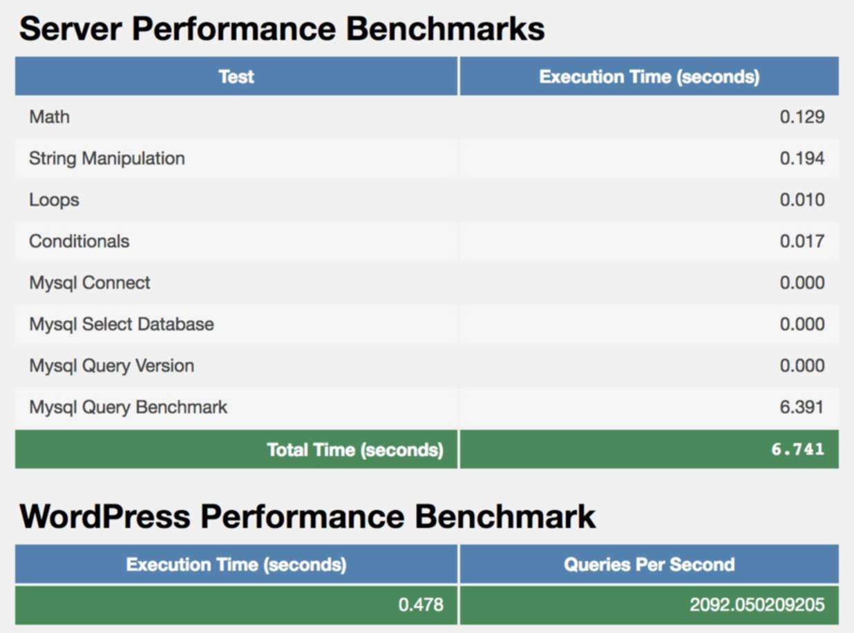 Image showing WordPress and server performance benchmarks