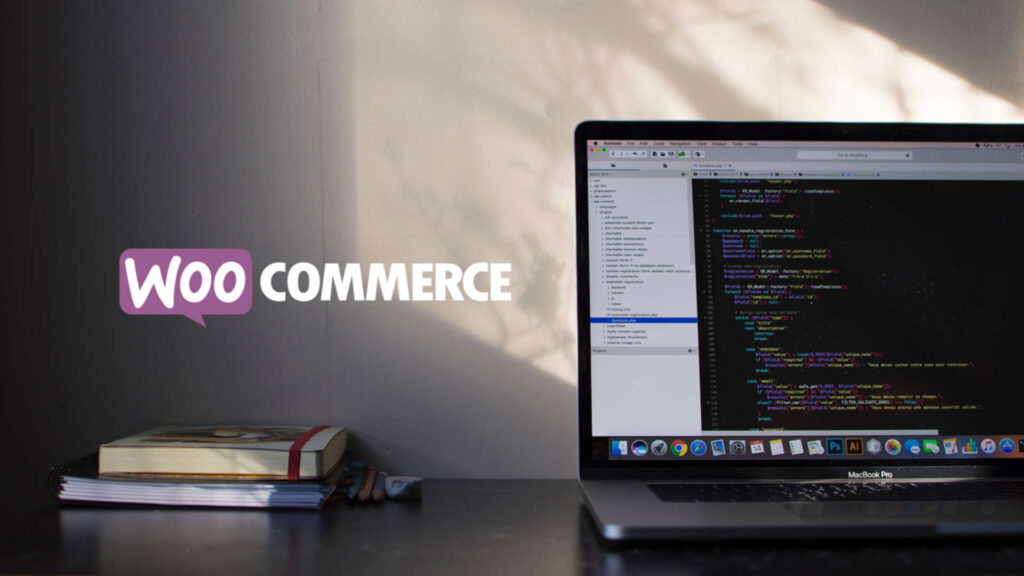 WooCommerce logo on top picture of a computer and books