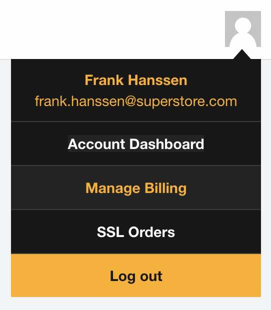 Shows where Manage BIlling is on the Servebolt Admin Panel account menu